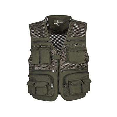 LIOOBO Men Vest Fishing Mesh Outdoor Breathable Multi-Pockets for Travelers Fly Fishing Photography - Size 3XL (Green)「並行輸入品」