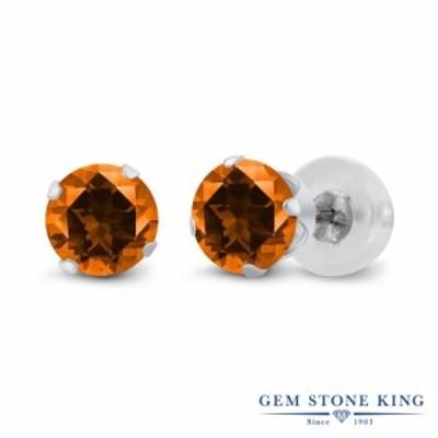 ピアス レディース 1.1カラット 天然石 トパーズ ポピー (スワロフスキー 天然石シリーズ) 14金 ホワイトゴールド(K14) 一粒 シンプル ス