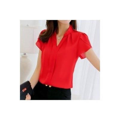 シャツ レディース ブラウス トップス Tシャツ Vネック 半袖シャツ 白シャツ 紐 リボン 3種類 シフォンブラウス シフォンシャツ OL 通勤