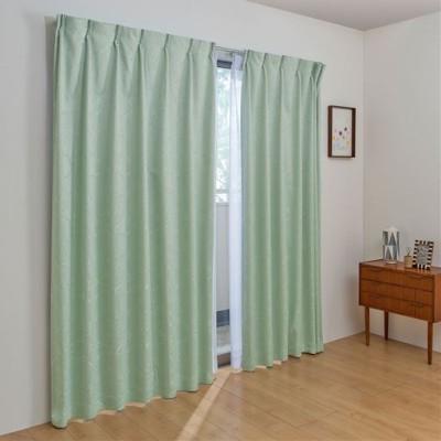 1級遮光カーテン(光沢のあるフラワー)/ブルーグリーン/幅100×丈100cm(2枚組)