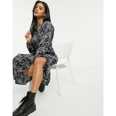 ミスガイデッド レディース ワンピース トップス Missguided floral print midi smock dress with ruffle hem in black