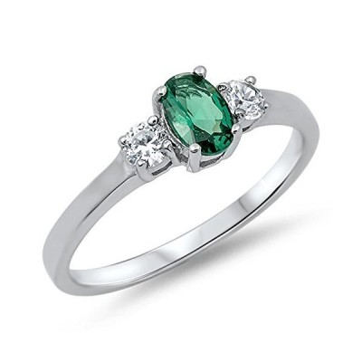 Women's Simulated Emerald Classic Pretty Ring New .925 Sterling Silver Band
