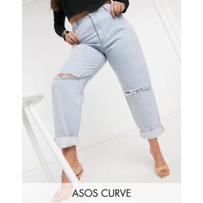 エイソス ASOS Curve レディース ジーンズ・デニム ボトムス・パンツ Asos Design Curve Recycled High Rise 'Slouchy' Mom Jeans Brightwash グレー