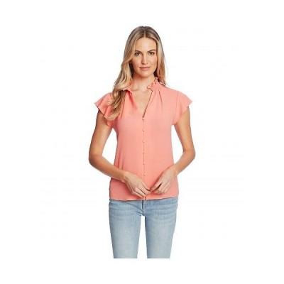 CeCe レディース 女性用 ファッション ブラウス Short Sleeve V-Neck Button-Down Blouse - Hot Lava
