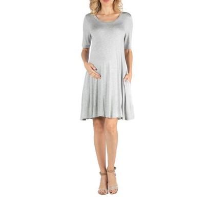 24セブンコンフォート レディース ワンピース トップス Soft Flare T-Shirt Maternity Dress with Pocket Detail
