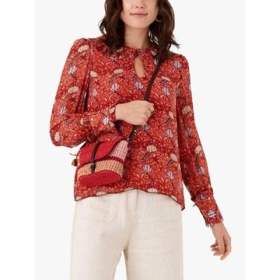 ブロラ シャツ レディース トップス Brora Folk Print Silk Blouse, Marigold