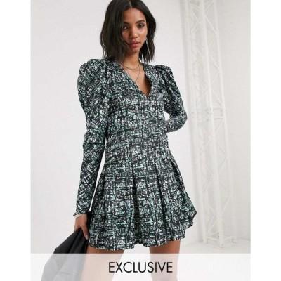 リクレイム ヴィンテージ Reclaimed Vintage レディース ワンピース inspired dress with puff sleeve in abstract check print マルチカラー