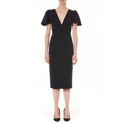 キャロライナヘレラ レディース ワンピース トップス Ruffle Sleeve Sheath Dress Midnight