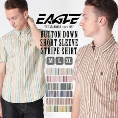 【送料無料】 シャツ 半袖 メンズ ボタンダウン ポケット ストライプ 大きいサイズ 日本規格 ブランド EAGLE THE STANDARD イーグル 半袖