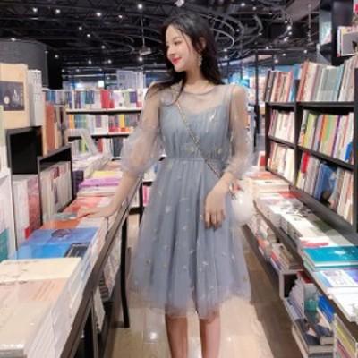 シースルー ワンピース 韓国 長袖 ワンピース 夏 春夏 春 韓国 ファッション レディース ワンピース 夏 春 春夏 オルチャン ファッション