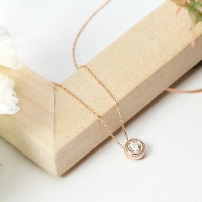 宝飾の街甲府から!SIクラスダイヤモンド0.1ctシンプルネックレス(ピンクゴールド)