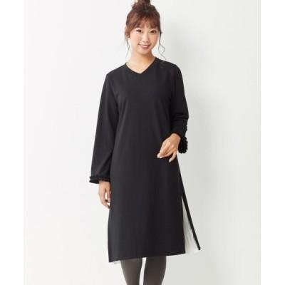 【大きいサイズ】 9分袖サイドプリーツカットソーワンピース(ヴェールダンス) ワンピース, plus size dress