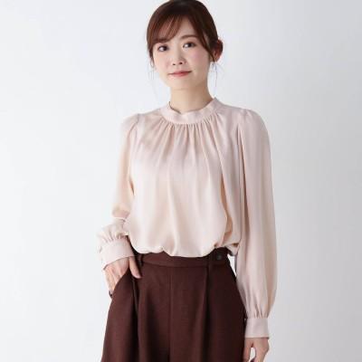 ピンクアドベ pink adobe 【M-LL】サテンギャザー長袖ブラウス (ピンク)