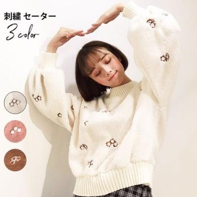 刺繍 レディース セーター 長袖 丸襟 ボリュームスリーブ リブ編み 厚手 あったか 暖かい もこもこ 厚手セーター 新作