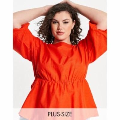 シンプリー ビー Simply Be レディース ブラウス・シャツ トップス blouse with puff sleeves in coral レッド