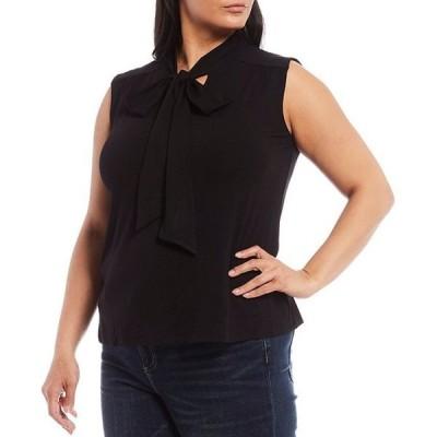 ヴィンスカムート レディース Tシャツ トップス Plus Size Sleeveless Tie Neck Knit Top