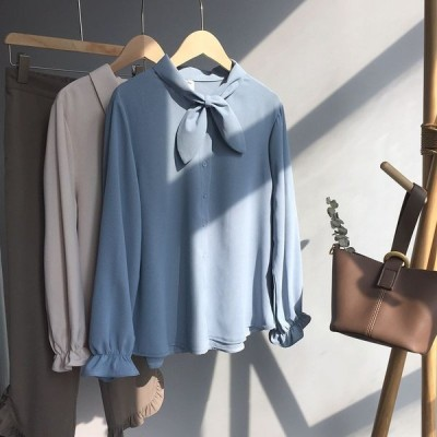 レディースワイシャツ ゆったり 春夏OL通勤シャツ 長袖 ブラウス 仕事着 オフィス  シンプルシャツ プルオーバー トップス リボン