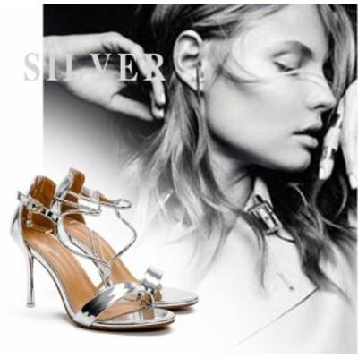 夜店  シューズ 9.5cm超ハイヒールサンダル パーティーパンプス夏靴 アンクルパンプス ピンヒール オープントゥ セクシー結婚式靴