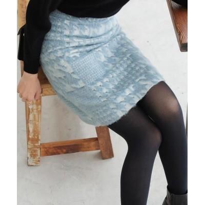 ANAYI/アナイ キカシャギーAラインスカート ブルー1 36