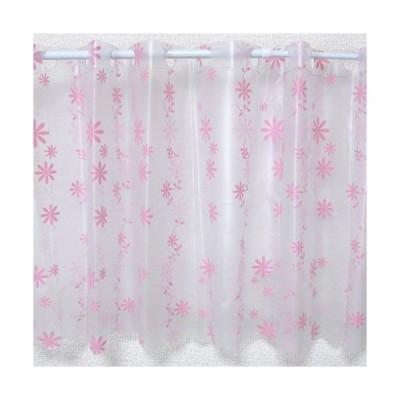防水 カフェカーテン フラワー柄 ピンク Sサイズ 巾120×丈45cm 防カビ 日本製