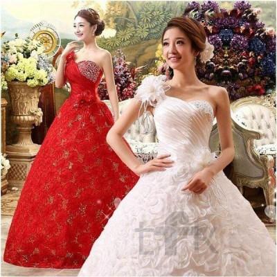お嫁豪華なウェディングドレス花柄☆ロングドレス☆結婚式二次会パーティー披露宴シングル肩花フリルドレス