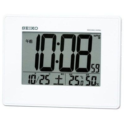 セイコー SEIKO 掛け時計 壁掛け 目覚まし時計 置き時計 SQ770W 電波時計 デジタル カレンダー 温度計 湿度計