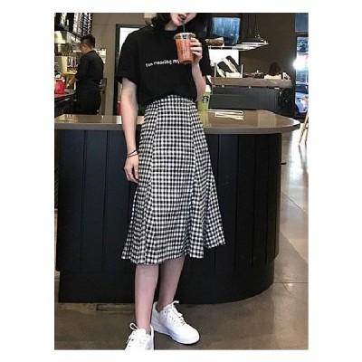ロングスカート 大きいサイズ フレアスカート ミモレ丈 チェック ロングスカート ギンガムチェック フレアスカート ロング jm5015