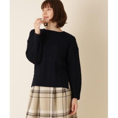 【クチュールブローチ】 ケーブルミックスニット レディース ネイビー 38(M) Couture Brooch