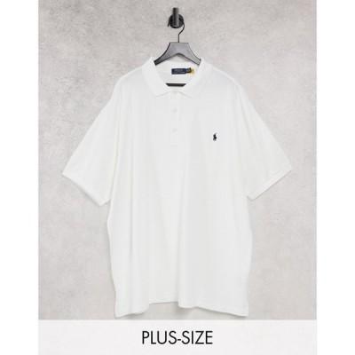 ラルフ ローレン Polo Ralph Lauren メンズ ポロシャツ 大きいサイズ トップス Big & Tall spa terry player logo polo in white ホワイト