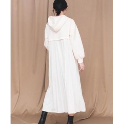 エレガント 薄ニット パーカーワンピース フード付き マキシワンピース 重ね着風 カジュアル 無地 韓国ファッション ゆったり 秋新作 レ