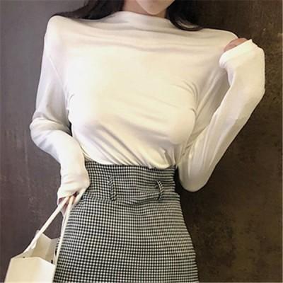 女 風 着やせ ボトム 長袖Tシャツ ファッション セミハイ襟 単一色