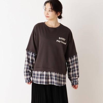 キューティーブロンド Cutie Blonde 【S-L】チェックシャツレイヤードプルオーバー (チャコールグレー)