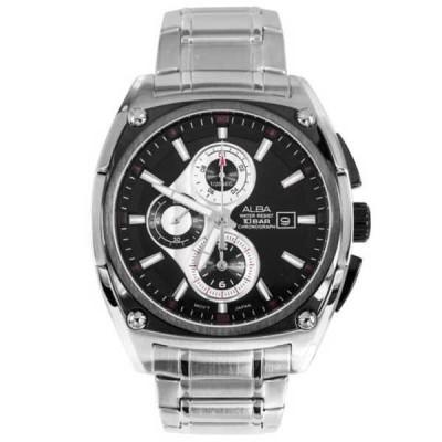 腕時計 アルバ Alba クロノグラフ Made by Seiko ブラック ダイヤル WR100m メンズ スポーツ 腕時計 AF8Q75X