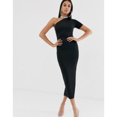 エイソス レディース ワンピース トップス ASOS DESIGN one shoulder minimal bandage midaxi dress Black