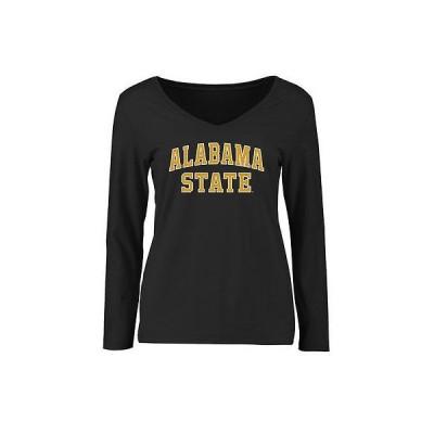 ファナティックス カレッジ 大学 スポーツ NCAA アメリカ USA 全米 Alabama State Hornets レディース ブラック Everyday スリム Fit 長袖 Tシャツ