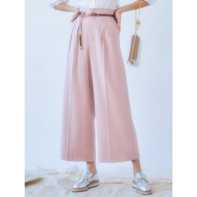 MERCURYDUO ベルト付カラーワイドパンツ(ピンク)
