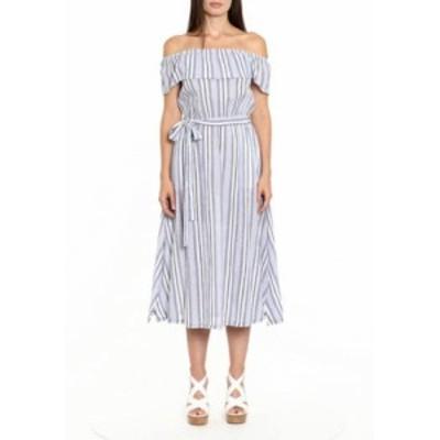 マイケルコース レディース ワンピース トップス Women's Off the Shoulder Flutter Sleeve LUREXR Stripe Midi Dress Dark Chambray