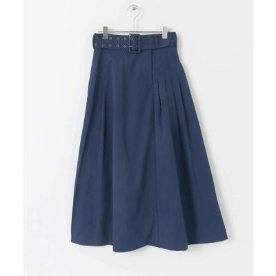 スカート リボン付きタックスカート24J∴