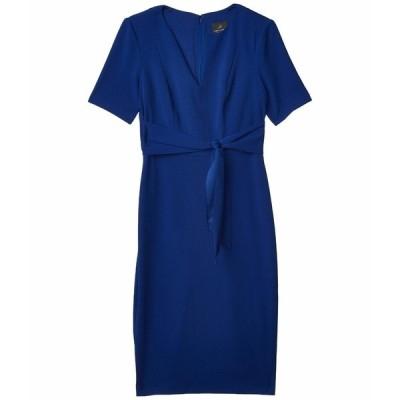 アドリアナ パペル ワンピース トップス レディース Knit Crepe Tie Sheath Dress Violet Blue