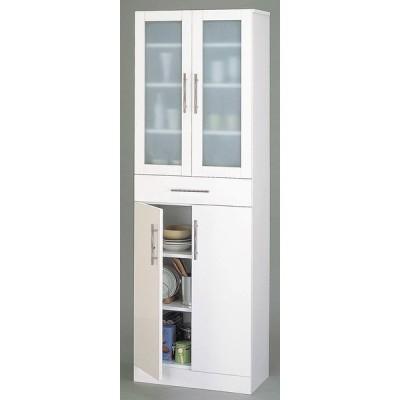 カトレア食器棚60-180 組立式 ホワイトW60×D38×H180 ミストガラス使用【送料無料】