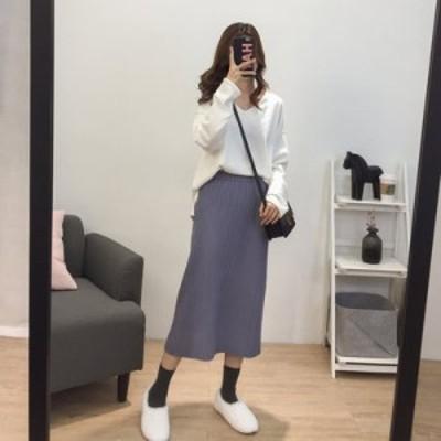 ハイウエスト リブ ニットタイトスカート ロング丈 体型カバー 無地 大人可愛い ガーリー カジュアル 韓国ファッション トレンド レディ