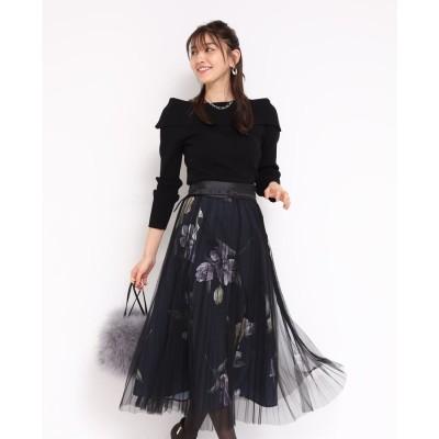 ジャスグリッティー JUSGLITTY チュール重ねプリントスカート (黒)