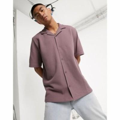 エイソス ASOS DESIGN メンズ シャツ トップス loose fit shirt in texture with revere collar in purple