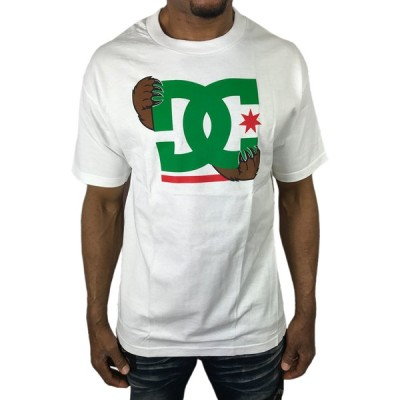 DC SHOE Tシャツ BEAR くま 熊 クマ ロゴ 白 ホワイト 緑 グリーン メンズ 半袖 ディーシー●ts453