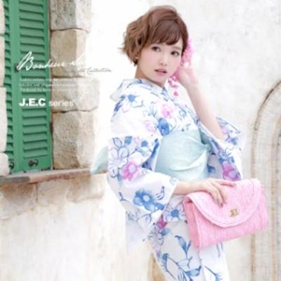 浴衣セット レディース レトロ 浴衣セット 大人 3点セット 白系 ホワイト 青 水色 椿 つばき 花 ラメ 綿 半幅帯 女性 ボヌールセゾン