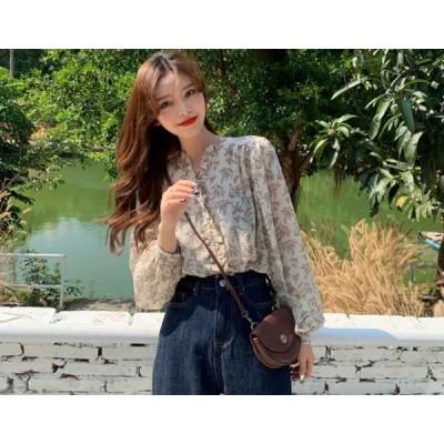 トップス ブラウス シャツ レディース 小花柄 花柄 ボリューム袖 韓国 ファッション