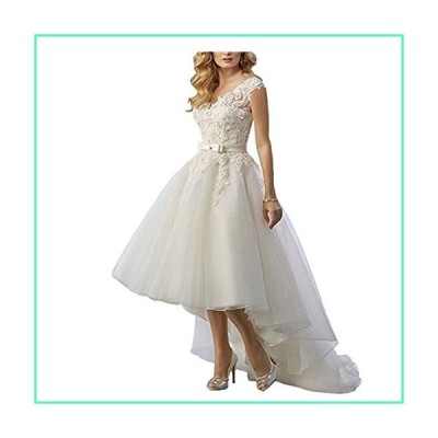 Yuxin Women's Hi-Low Lace Wedding Dresses for Bride Sleeveless Open Back Bridal Gowns White並行輸入品