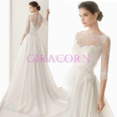 新品人気 花嫁ドレス ウェディングドレス パーティー ウエディングドレス ブライダルドレス ホワイト  トレーン  レース ファスナー 大きいサイズ ウェディング