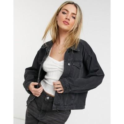 モンキ ジャケット デニムジャケット レディース Monki Bonnie organic cotton denim jacket in black エイソス ASOS ブラック 黒