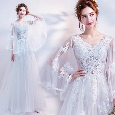 ウェディングドレス Aラインドレス 白 安い 二次会 大きいサイズ 花嫁 パーティードレス 披露宴 ブライダル シンプル 結婚式 ロングドレス 演奏会